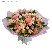 Букет из пионовидной розы, брунии и альстромерии