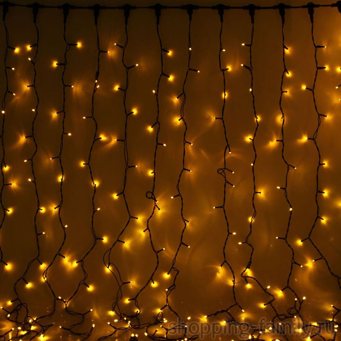 Светодиодная гирлянда Шторка 160 LED , 1,5*1,5 м. Цвет Желтый