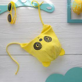 HOH ШВ19-04055309 Шапка трикотажная с завязками мишка панда, желтый