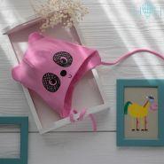 HOH ШВ19-04315309 Шапка трикотажная с завязками мишка панда, розовый