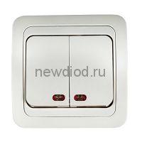 Выключатель 2кл с подсветкой CLASSICO белый 2123 IN HOME
