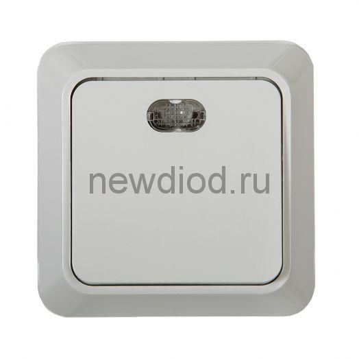 Выключатель 1кл с подсветкой BOLLETO белый накл 7121 IN HOME