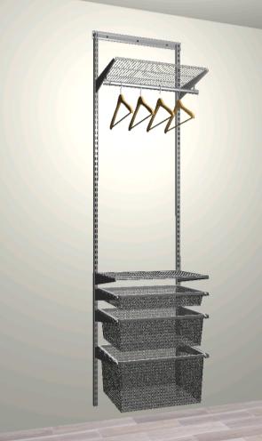 Комплект #7 - Две полки, штанга и выдвижные корзины разного размера