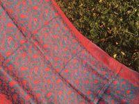 Двухсторонний синий индийский палантин, купить в Москве