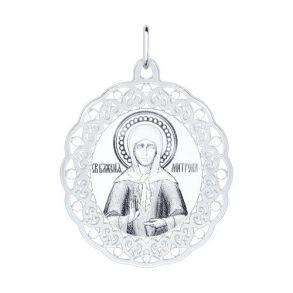 Серебряная нательная иконка с ликом Матроны Московской 94100147 SOKOLOV