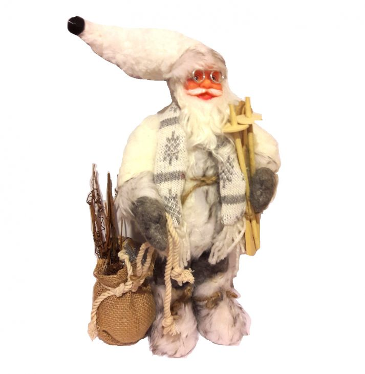 Санта Клаус с лыжами и подарками 30 см