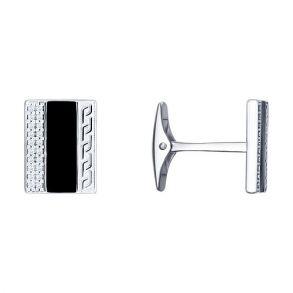 Запонки из серебра с эмалью и фианитами 94160047 SOKOLOV