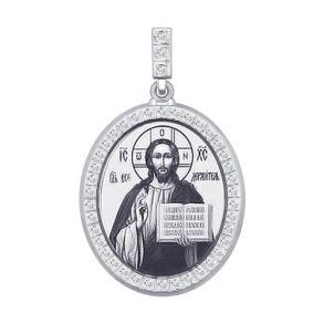 Серебряная нательная иконка «Господь Вседержитель» 94100174 SOKOLOV