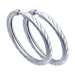 Серьги конго из серебра с алмазной гранью 94140069 SOKOLOV