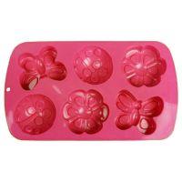 Силиконовые формы для выпечки (бабочка, божья коровка, цветок), 6 ячеек, цвет розовый (2)