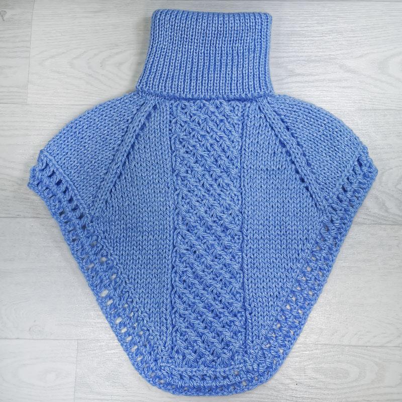 м1005-10 Манишка большая с отворотом голубая
