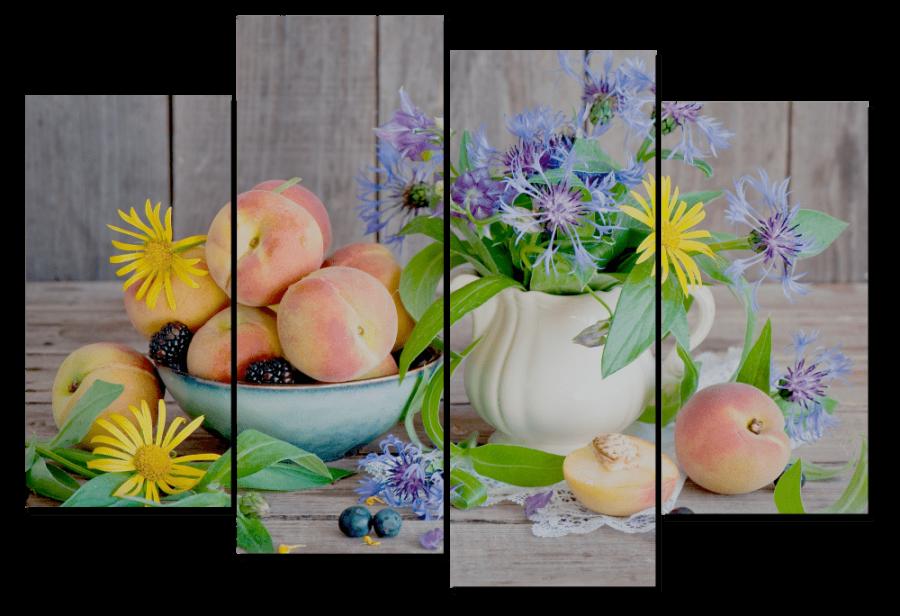 Модульная картина Цветы и фрукты