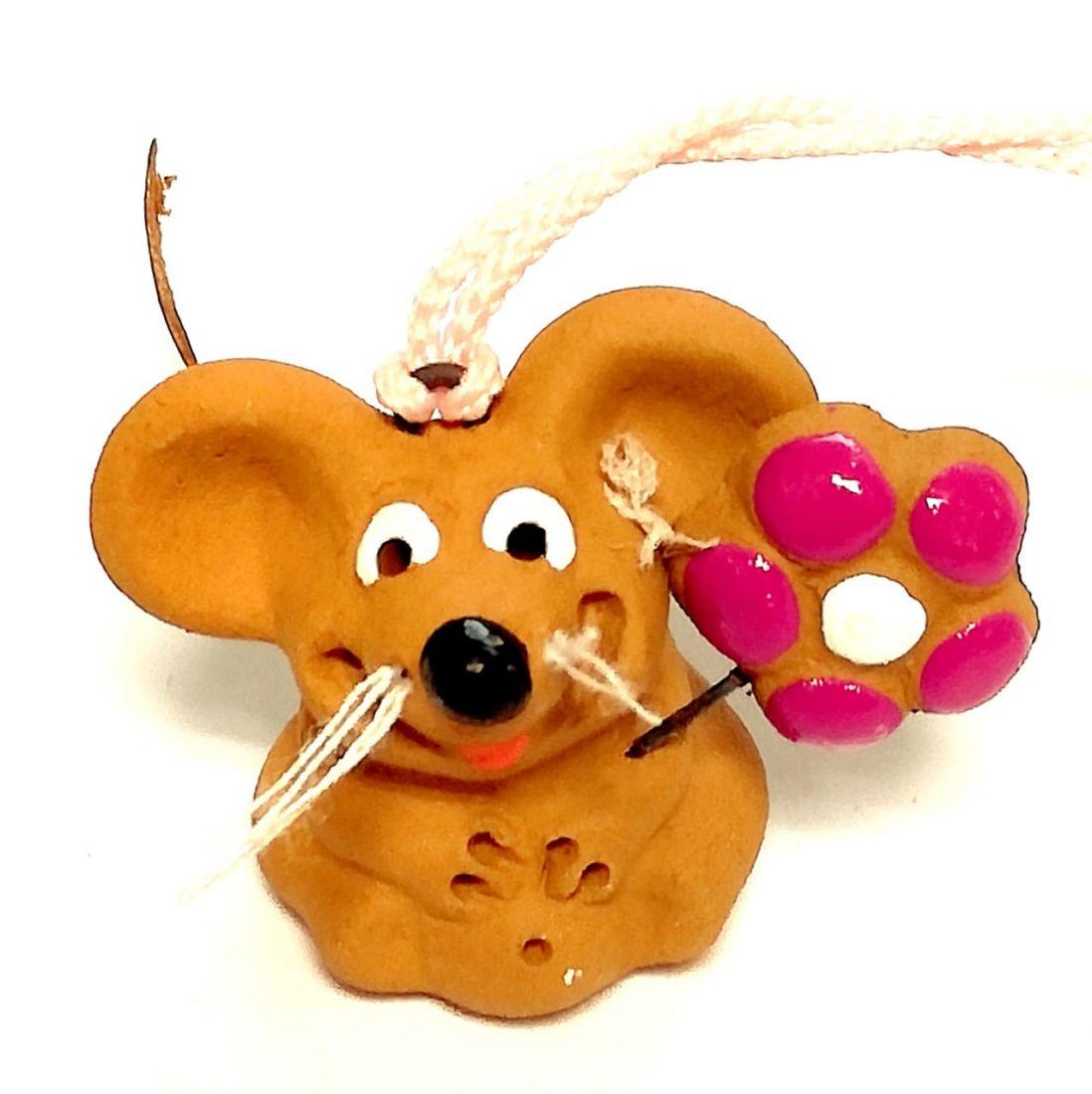 Магнит мышка с цветочком Керамика