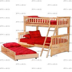 Кровать двухъярусная 146129-3 (Кровать трехъярусная с выкатным спальным местом)