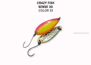 Колеблющаяся блесна Crazy Fish Sense 3 гр / цвет: 33