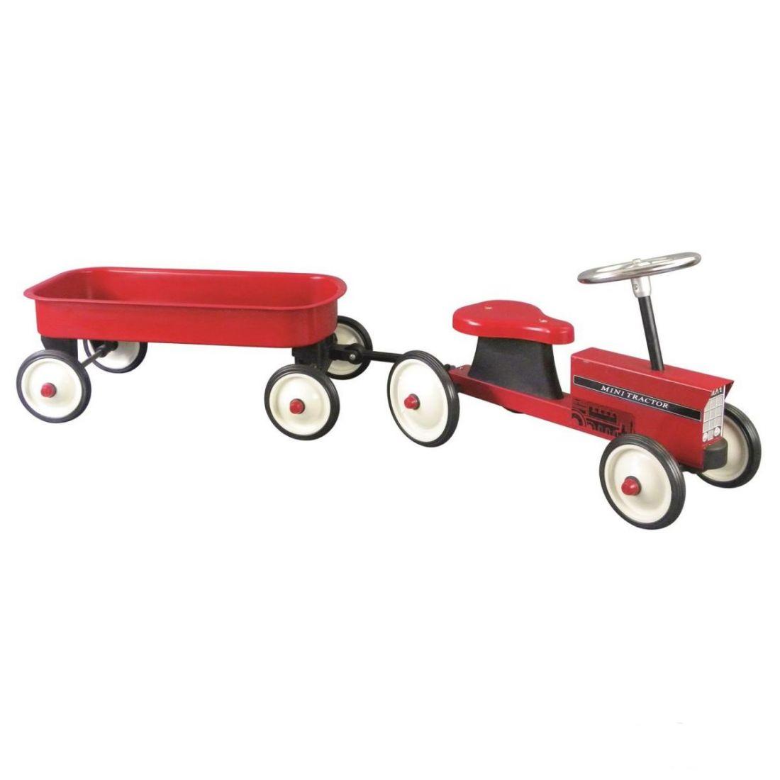 Трактор с тележкой Goki 14148 красный