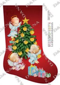 DANA-3182ч. Новогодние Ангелята. Сапожок для вышивки бисером. А3 (набор 750 рублей)