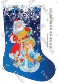 DANA-378ч. Дед Мороз и Снегурочка. Сапожок для вышивки бисером. А3 (набор 700 рублей) Dana