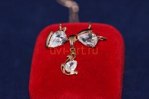 Комплект позолоченных украшений - серьги и подвеска с цепочкой (арт. 800215)