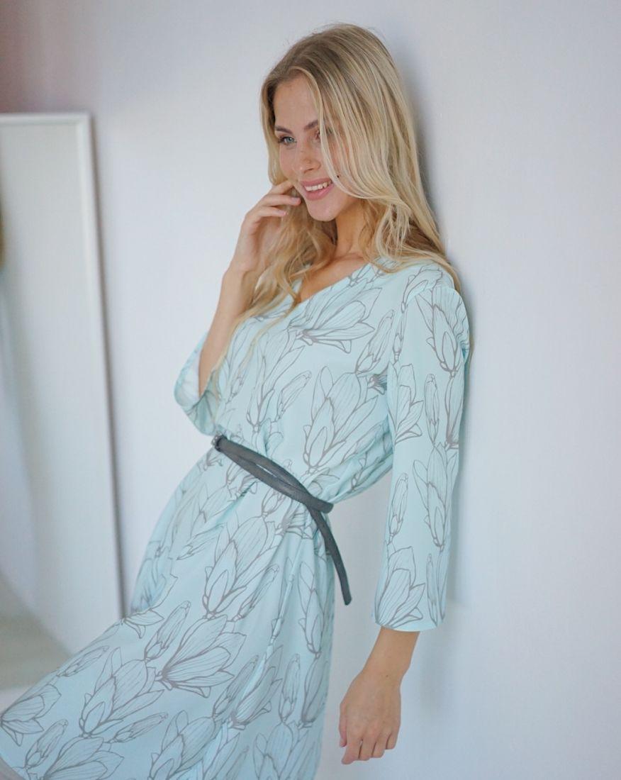 m2975 Платье голубое с узором (бестселлер)