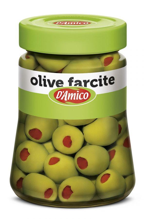 Оливки фаршированные перцем 290 гр., Olive farcite salamoia D'Amico 290 gr.