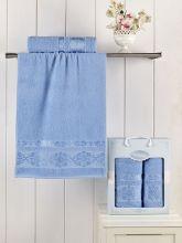 Комплект из 2-х махровых полотенец REBEKA 50*90+70*140 (голубой) Арт.2660-4
