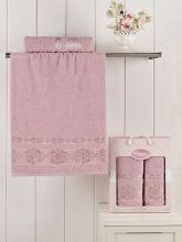 Комплект из 2-х махровых полотенец REBEKA 50*90+70*140 (гр.розовый) Арт.2660-3