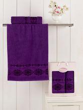Комплект из 2-х махровых полотенец REBEKA 50*90+70*140 (фиолетовый) Арт.2660-6