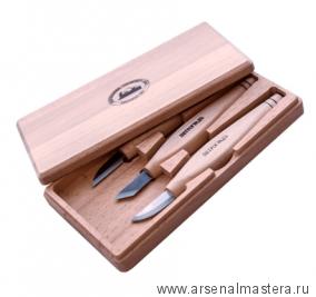 Набор резчицкий ПЕТРОГРАДЪ N13 3 ножа в деревянной коробке М00016239
