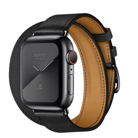Apple Watch Hermes Series 5 Stainless Steel 40mm GPS + Cellular Space Black with Leather Double Tour