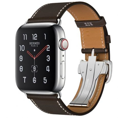 Apple Watch Hermes Stainless Steel Series 5 44mm GPS + Cellular Ébène Leather Single Tour Deployment Buckle