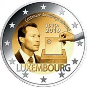 100 летие всеобщего избирательного права 2 евро Люксембург 2019 UNC