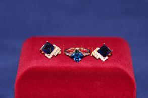 Комплект позолоченных украшений - серьги и кольцо (арт. 800217)