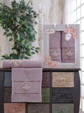 Комплект из 2-х махровых полотенец  Flowers 50*90+70*140 Арт.556.02