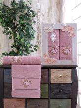 Комплект из 2-х махровых полотенец  Flowers 50*90+70*140 Арт.556.06