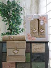 Комплект из 2-х махровых полотенец  Flowers 50*90+70*140 Арт.556.09