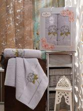Комплект из 2-х махровых полотенец  Flowers 50*90+70*140 Арт.557.04