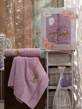 Комплект из 2-х махровых полотенец  Flowers 50*90+70*140 Арт.557.06