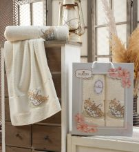 Комплект из 2-х махровых полотенец  Flowers 50*90+70*140 Арт.558.01