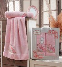 Комплект из 2-х махровых полотенец  Flowers 50*90+70*140 Арт.558.08