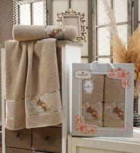 Комплект из 2-х махровых полотенец  Flowers 50*90+70*140 Арт.558.09