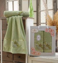 Комплект из 2-х махровых полотенец  Flowers 50*90+70*140 Арт.558.10