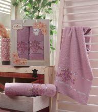 Комплект из 2-х махровых полотенец  Flowers 50*90+70*140 Арт.559.07