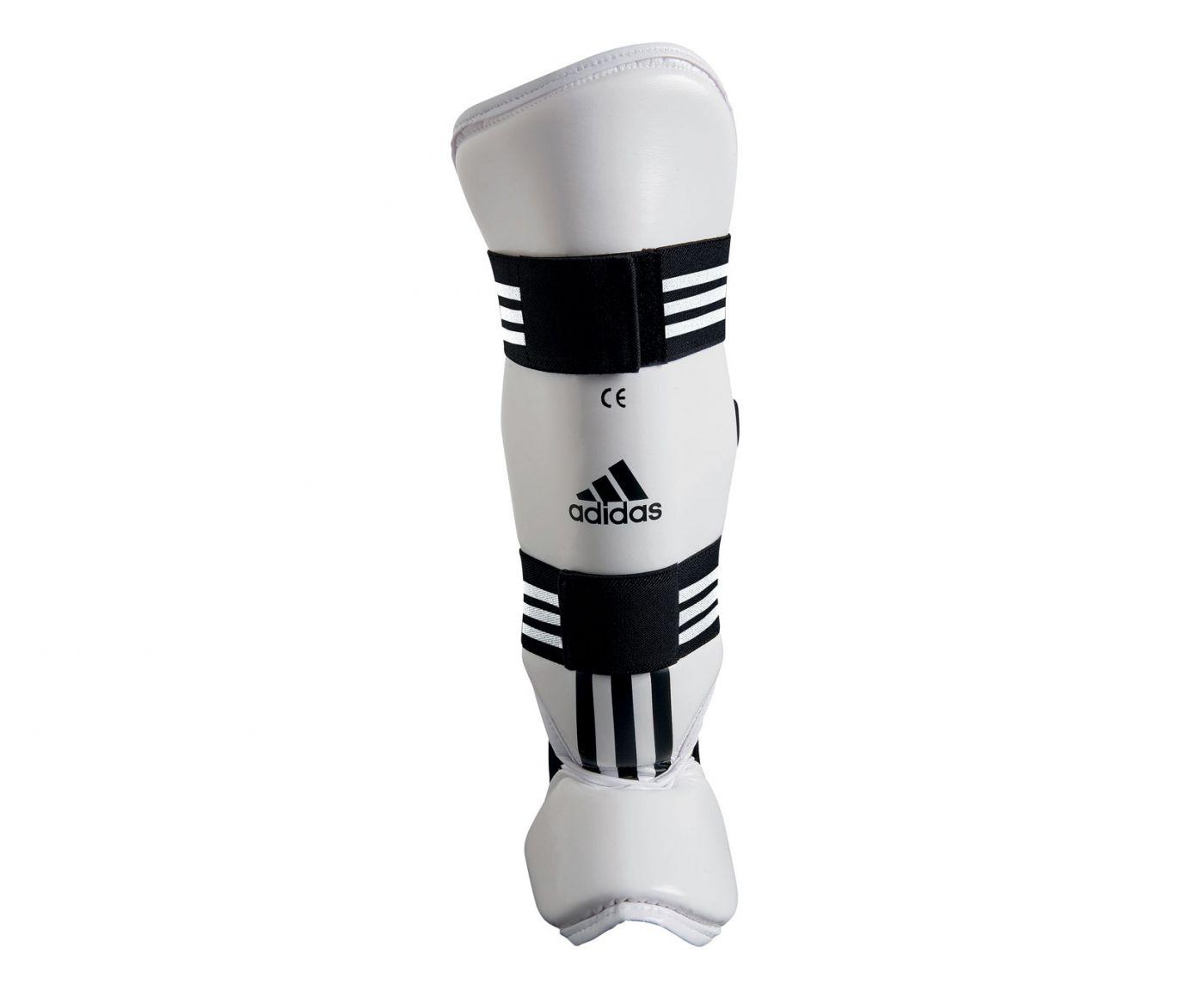 Защита голеностопа Adidas для тхэквондо WTF Shin Instep Pad Protector белая, размер M, артикул adiTSP02