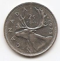 25 центов Канада 1975 (регулярный выпуск)