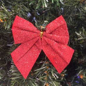 Новогоднее украшение Блестящие бантики, Цвет красный, 3 шт
