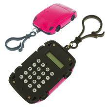 Брелок 8-разрядный калькулятор Машинка, Цвет: Розовый