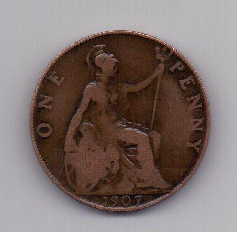 1 пенни 1907 года Великобритания