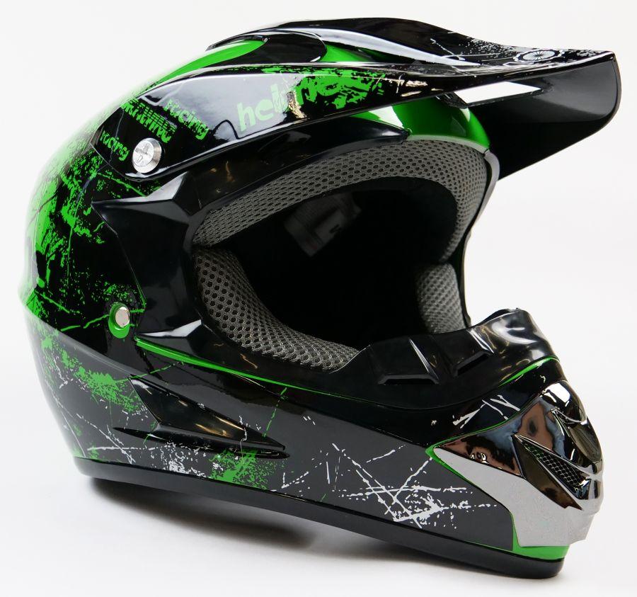 Детский шлем кроссовый Motax (Черно - Зеленый)