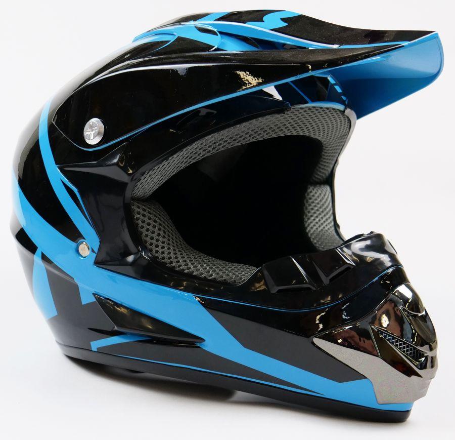 Детский шлем кроссовый Fox (Черно - Синий)